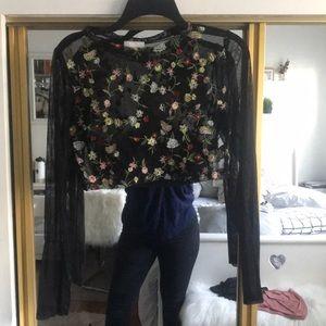 Dress Decode Sheer Floral Crop Top